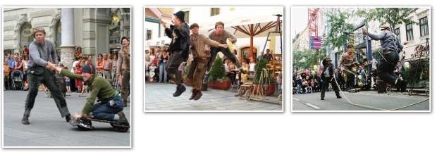 Straßentheater mit Akrobatik und Poesie